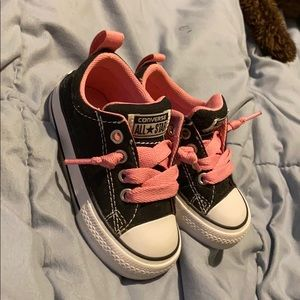 Black and pink baby converse